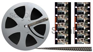 16mm film roll and film detail single-sided or double-sided perforated