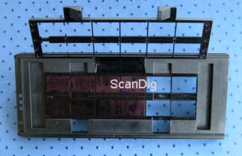 The strip film holder FH-835S for 35mm film strips with opened frame for up to 12 images