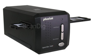 The Plustek OpticFilm 7600i with an inserted slide adapter