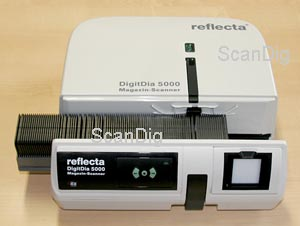 The Reflecta DigitDia 5000 can process different magazine types.