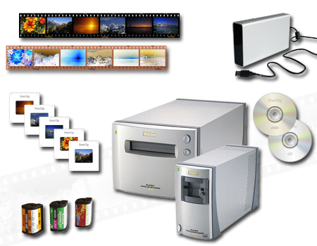 Our high-class Nikon film scanners digitize mounted slides, 35mm film strips and rolls, APS film rolls, medium formats, XPAN panorama formats etc.